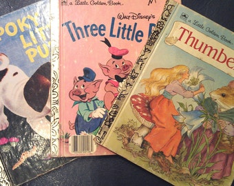 3 Vintage Golden Books Set -FREE SHIP- The Poky Little Puppy, 3 Little Pigs, Thumbelina