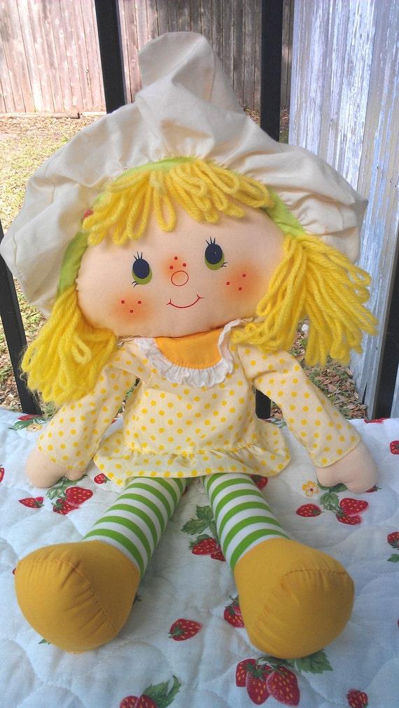 "Vintage 1981 Strawberry Shortcake Lemon Meringue ragdoll cloth doll plush 16"""