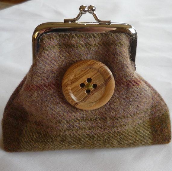 Tartan buttoned purse