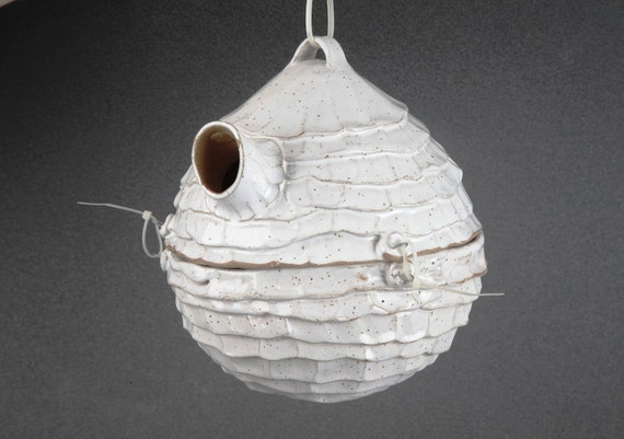 Awesome Birdhouse for small birds, such as: Chickadee, Wrens, Swallow, Prothonotary Warbler.  White color, hand built out of clay