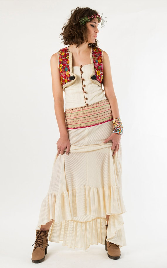 Maxi Skirt with Indian Cotton Vintage Sari Top, Tiered maxi skirt, One-of-a-kind