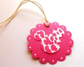 Minnie  Mouse Tags--QTY 12--Pink animal Print--Gift Tag- -Scrapbooking --Party Favors--Disney tag