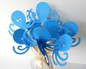 Octopus Cupcake Toppers Qty 12-Aqua Blue