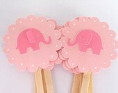 Pink Elephant Cupcake Toppers Qty 12--Baby Shower--Birthday Party
