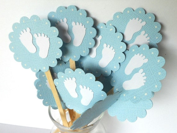 Baby feet Cupcake Toppers-Qty12--Baby Shower-New Baby