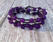 Purple and White Bohemian Beaded Crochet Wrap Bracelet/ Semi-Precious Blue Aventurine