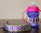 Sippy Cup Leash | Sippy Strap | Sippy Cup Strap Suction Cup | Bottle Tether | Sippy Cup Strap | Suction Sippy Strap | Dotted