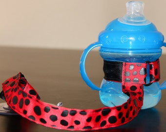 Sippy Cup Leash | Sippy Strap | Sippy Cup Strap Suction Cup | Bottle Tether | Sippy Cup Strap | Suction Sippy Strap | Red Dalmatian
