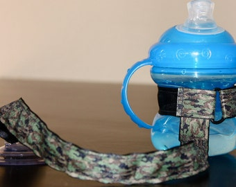 Sippy Cup Leash | Sippy Strap | Sippy Cup Strap Suction Cup | Bottle Tether | Sippy Cup Strap | Suction Sippy Strap | Camouflauge