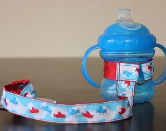 Sippy Cup Leash | Sippy Strap | Sippy Cup Strap Suction Cup | Bottle Tether | Sippy Cup Strap | Suction Sippy Strap | Airplanes