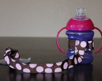 Sippy Cup Leash, Sippy Strap, Bottle Tether, Sippy Cup Strap Suction Cup, Brown Pink Polka Dots