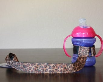 Sippy Cup Leash | Sippy Strap | Sippy Cup Strap Suction Cup | Bottle Tether | Sippy Cup Strap | Suction Sippy Strap | Leopard