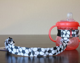 Sippy Cup Leash, Sippy Cup Strap, Baby Bottle Holder, New Baby Gift, Christmas Gift - Soccer