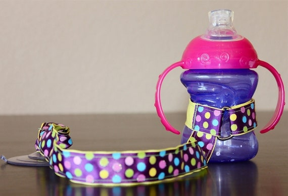 Sippy Cup Leash Sippy Strap Sippy Cup Strap Suction Cup Bottle Tether Sippy Cup Strap Suction Sippy Strap Dotted