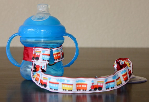 Bottle Tether, Toy Tether, Sippy Strap with Suction Cup- Choo Choo Train