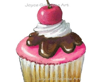 Clip Art: Freehand Art Cupcake With Pink Icing And Cherry, INSTANT DOWNLOAD