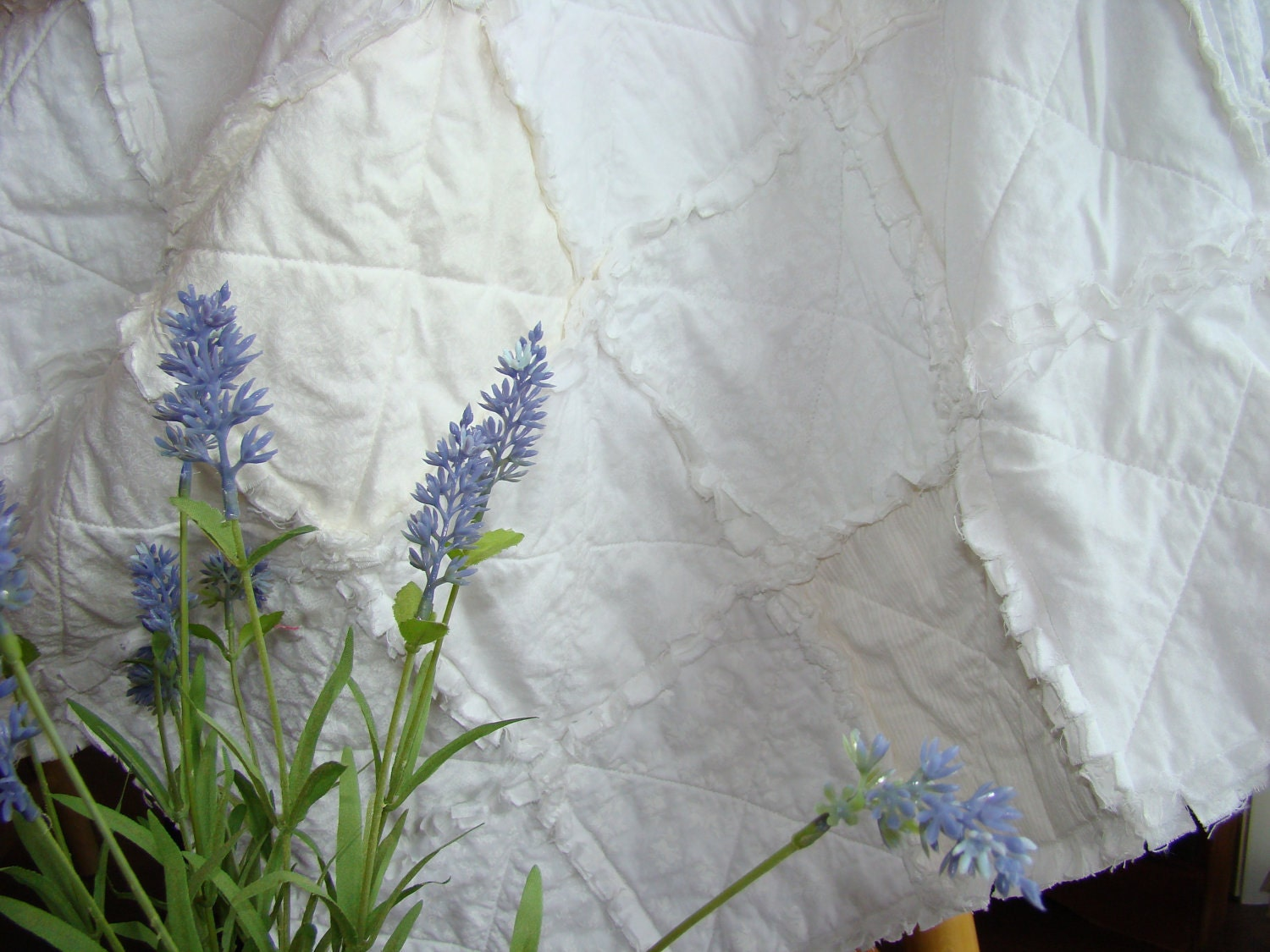 White Shabby Cottage Baby Rag Quilt Crib Size White