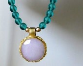 SOPHIA vintage style beaded necklace - turquoise teal beaded statement necklace - lavender pendant necklace