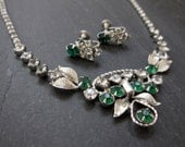 EMERALD vintage rhinestone necklace and earring set - green and clear crystal bridal demi parure - antique estate jewelry