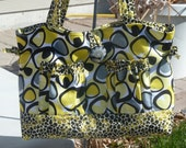 Handmade Bow tuck style purse or tote bag in yellow, gray, black and white