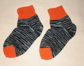 Hand knitted socks for women, slate, multi-colored with orange decorations