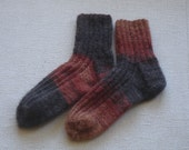 Hand Knitted Socks for Women, Multi-colored, Brown