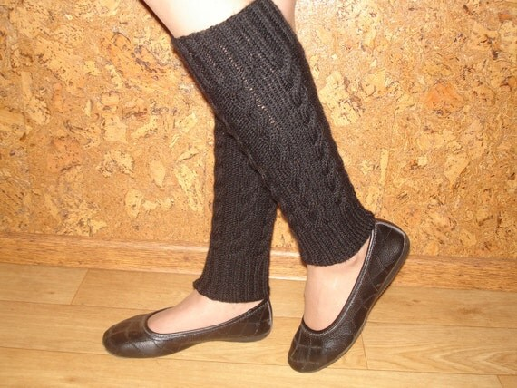 Hand Knitted, Black Leg Warmers with Cables for Women