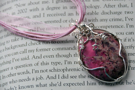 OLIVIA: Pink Impression Cabochon Pendant Beautifully Wrapped in Silver with Swirling Spiral Accents on Ribbon Necklace