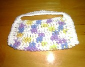 "Handmade Crocheted Child's Purse - white, yellow, purple & blue    8 1/2"" x 4"""