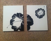 Black Flower Panel Canvas Painting - 16x20