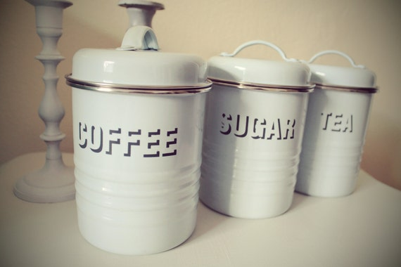 Vintage Canister Set shabby cottage chic sugar coffee tea