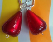 Vintage Lucite Large Red Moonglow Teardrop Beaded Earrings with Silver-Plated Lever-Back Earwires