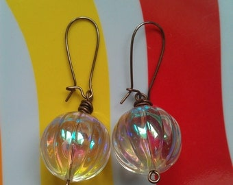 """Vintage Lucite """"Aurora Borealis"""" Fluted Bead with Brass Kidney Wire Earrings"""