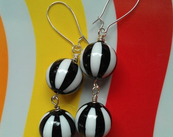 Vintage Lucite Black and White Double Drop Beaded Silver-Plated Kidney Wire Earrings