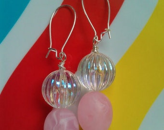 Vintage Lucite Marbleized Pink and Shimmery (AB) Clear Fluted Double-Drop Beaded Earrings w/ Silver-Plated Kidney-Shaped Earwires