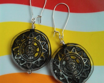 Vintage Lucite Beaded Earrings: Clear Beads with a Black Aztec-y Sun Hung from Silver-Plated Kidney-Shaped Earwires