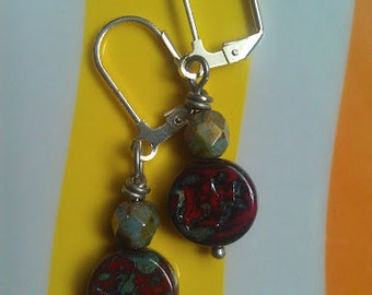 Czech Glass Earrings with Red and Green Marbelized Flower and Firepolish Olive Beads and Silver-Plated Lever-Back Earwires