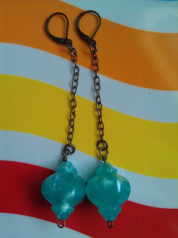 Vintage Teal Moonglow Lucite Lantern Beads and Brass Chain Earrings with Lever-Back Earwires