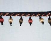 Fringe Trim Tassel Cord new SEVILLA NOIR Black Russet Beaded Pillows Wholesale Closeout