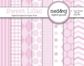 BUY 1, GET 1 FREE - Digital Scrapbook Paper Pack - Sweet Lilac - Pantone Spring Collection