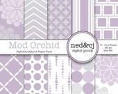 Digital Scrapbook Paper Pack - Mod Orchid - Orchid Purple & Grey - Modern Gray Digital Paper - INSTANT DOWNLOAD