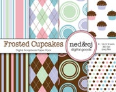 Digital Scrapbook Paper Pack - Frosted Cupcakes - Pink, Blue, Green, Purple - INSTANT DOWNLOAD