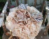 fabric bouquet ,  Blue and white striped bow fabric flower bouquet,bridal bouquet, rustic bouquet