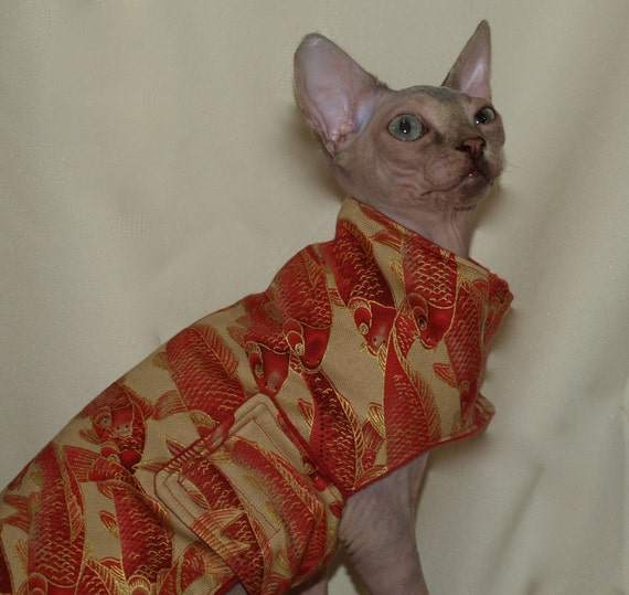 Brightly Colored Red And Gold Cotton Cat Kimono Lined With Red Fleece