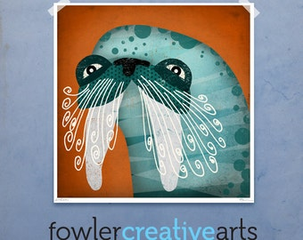 Whiskered Walrus illustration giclee signed artist's print by fowler creative arts