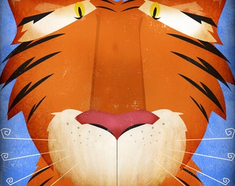 Jungle Tiger original illustration giclee archival signed artist's print 12 x 12 by fowler creative arts