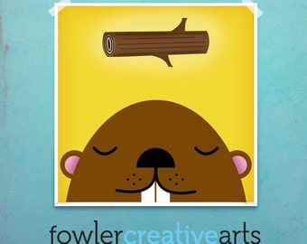 Burrowing Beaver dream creatures original illustration giclee archival signed artist's print by fowler creative arts