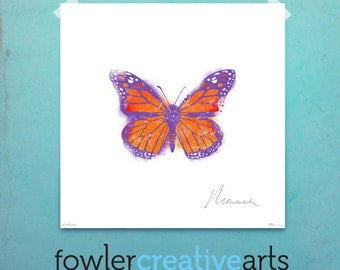 Violet Monarch Butterfly illustration giclee archival signed artist's print 12 x 12 by fowler creative arts