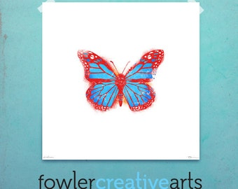 Red Monarch Butterfly illustration giclee archival signed artist's print 12 x 12 by fowler creative arts