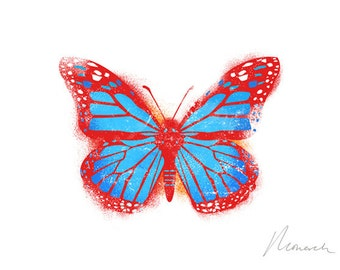 red Monarch Butterfly canvas print on wooden block 5 x 7 x 1.5